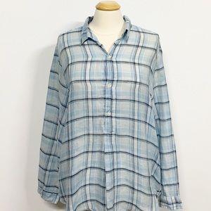 CP Shades | Blue Plaid Button Down Linen Tunic